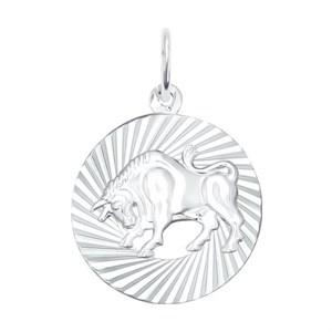 Подвеска «Знак зодиака Телец» из серебра - фото 5139