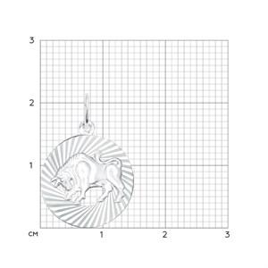 Подвеска «Знак зодиака Телец» из серебра - фото 5140