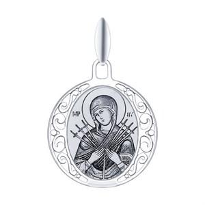Серебряная иконка «Икона Божьей Матери Семистрельная»