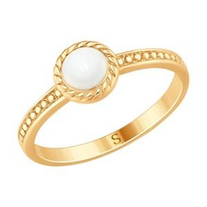 Кольцо из золочёного серебра с эмалью - фото 5240
