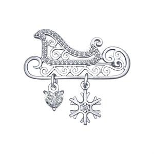 Брошь «Сани» из серебра