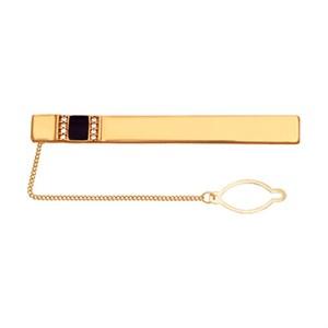 Позолоченный зажим для галстука с полосками фианитов и эмалью