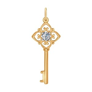 Подвеска в виде ключа из золочёного серебра фианитом