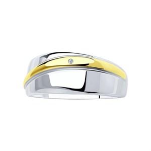 Кольцо из золочёного серебра с бриллиантом - фото 5412