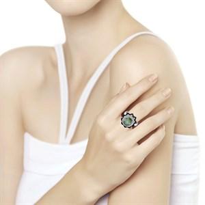 Кольцо из серебра с миксом камней - фото 5469