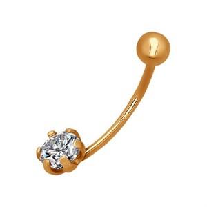 Пирсинг в пупок из золота с фианитом
