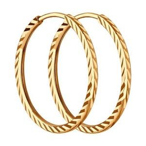 Золотые серьги конго с алмазной гранью