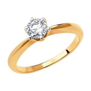 Кольцо из золота с фианитом Swarovski