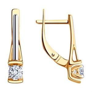 Серьги из золота с фианитами Swarovski