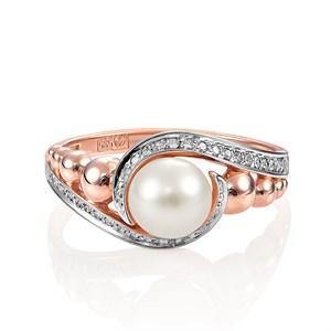 Золотое кольцо с жемчугом и бриллиантами - фото 5658