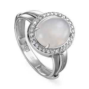 Кольцо из белого золото с лунным камнем и бриллиантами