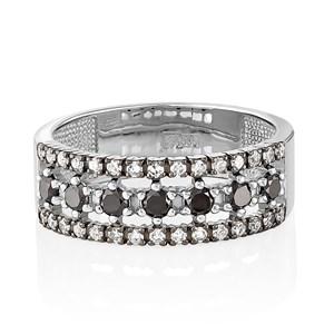 Кольцо из белого золота с черными бриллиантами - фото 5786