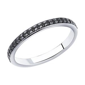 Серебряное кольцо с чёрными фианитами - фото 5806
