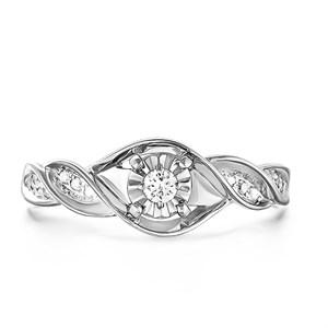 Кольцо из белого золота с бриллиантами - фото 5817