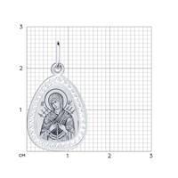 Серебряная нательная иконка с ликом Божьей Матери Семистрельной - фото 5194