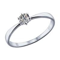 Помолвочное кольцо из серебра с фианитом - фото 5204