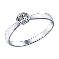 Помолвочное кольцо из серебра с фианитом - фото 5225