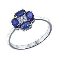 Кольцо из серебра с синими фианитами - фото 5238
