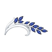 Брошь из серебра с синими фианитами - фото 5305