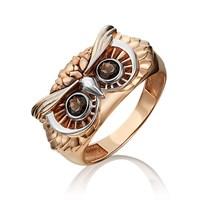 """Кольцо из золота """"Сова"""" с дымчатым кварцем - фото 5382"""