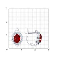 Серьги из серебра с корундами рубиновыми (синт.) и фианитами - фото 5410