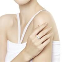 Кольцо из золочёного серебра с бриллиантом - фото 5413