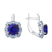 Серьги из серебра с синими корунд (синт.) и фианитами - фото 5418
