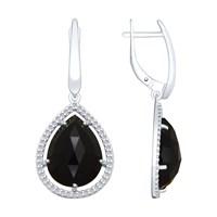 Серьги из серебра с чёрными агатами и фианитами - фото 5424