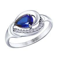 Кольцо из серебра с синим корундом (синт.) и фианитами - фото 5444