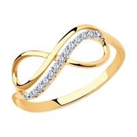 Кольцо бесконечность из золота с фианитами - фото 5482