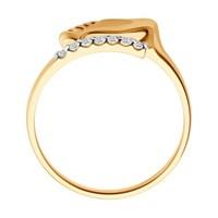 Кольцо «Пяточка» из золота с фианитом - фото 5484