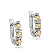Серьги из белого золота с брилиантами - фото 5605