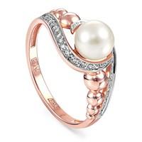 Золотое кольцо с жемчугом и бриллиантами - фото 5657