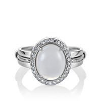 Кольцо из белого золото с лунным камнем и бриллиантами - фото 5691