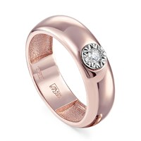 Кольцо из розового золота с бриллиантом - фото 5749