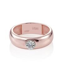 Кольцо из розового золота с бриллиантом - фото 5750
