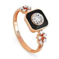 Золотое кольцо с бриллиантами и эмалью - фото 5776