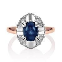 Золотое кольцо с сапфиром и бриллиантами - фото 5779