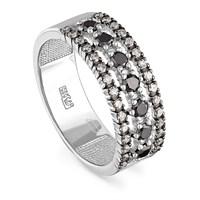 Кольцо из белого золота с черными бриллиантами - фото 5785