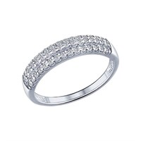 Кольцо из серебра с фианитами - фото 5812