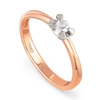 Золотое кольцо с бриллиантом - фото 5828