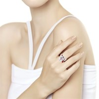 Кольцо из серебра с эмалью и фианитами - фото 5861